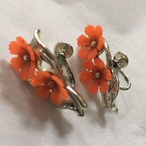 AUTHENTIC VINTAGE flower floral screw EARRINGS MCM
